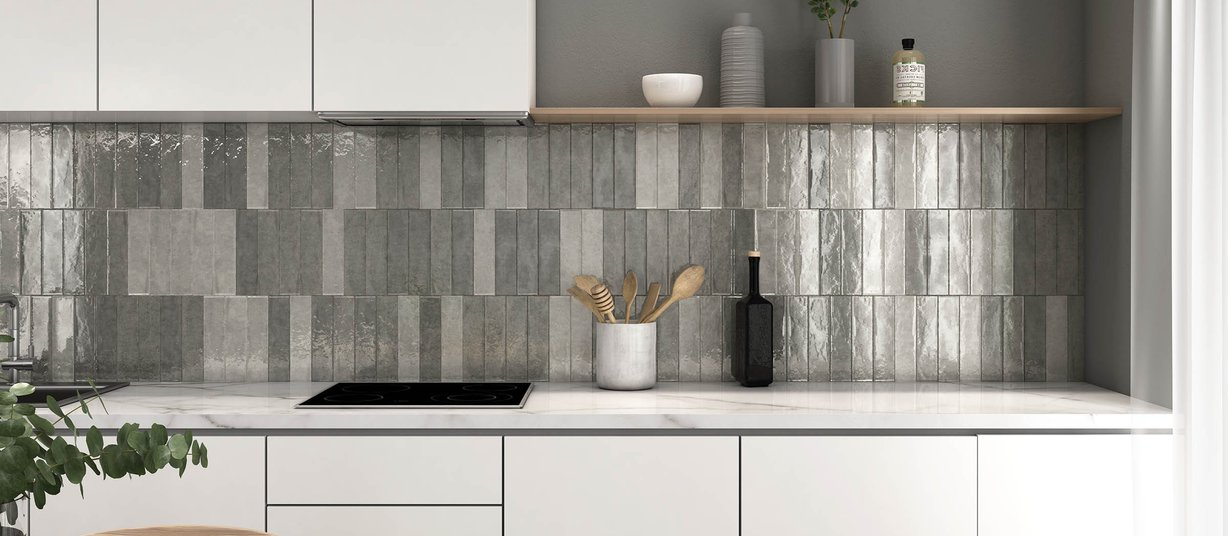 Marakkesh Grey tiles Modern style Kitchen
