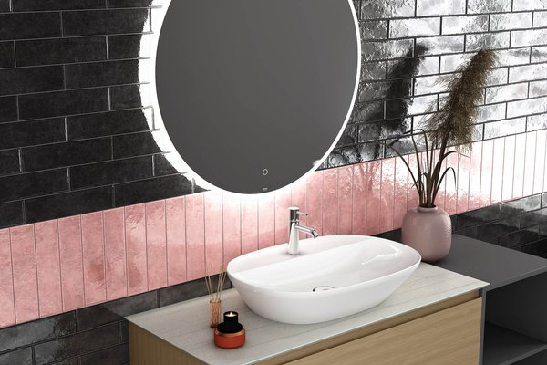 marakkesh Brown and Pink tiles Modern style Bathroom