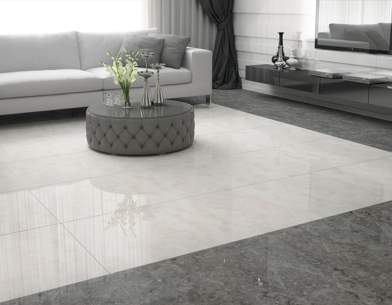 marble collection Grey tiles Modern style Living