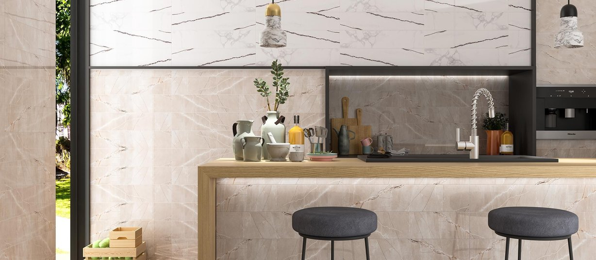 marbles Beige, Brown, Mix and White tiles Modern style Kitchen
