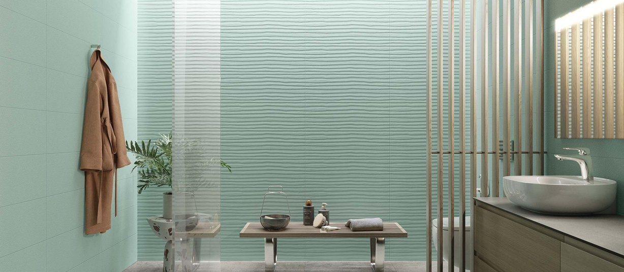 Mare Green tiles Modern style Bathroom