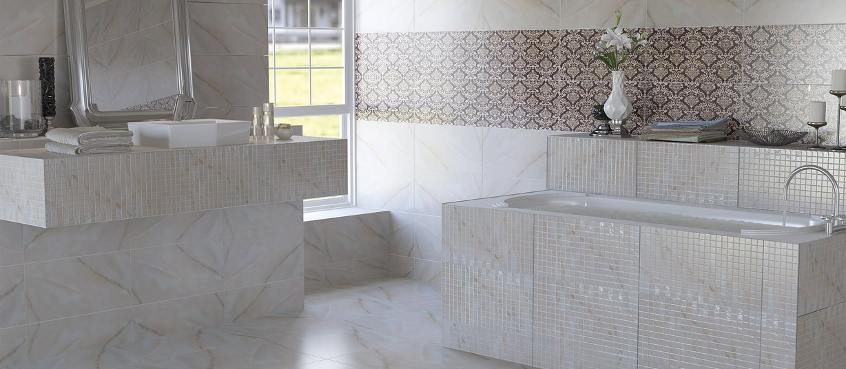 Marxus Brown, Ivory and White tiles Classic style Bathroom