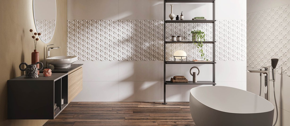 materia White tiles Modern style Bathroom