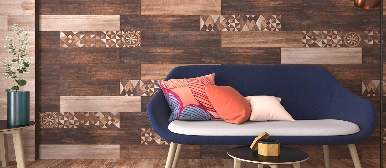 Matrix wood Brown tiles Modern style Living