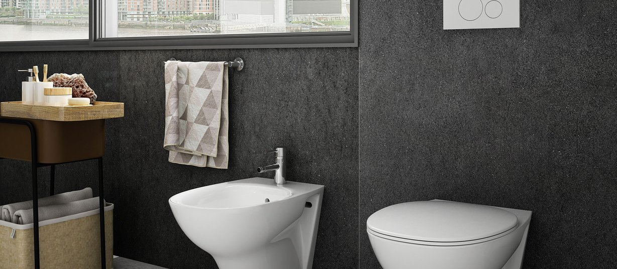 maximus basaltina stone Black and Grey tiles Modern style Bathroom