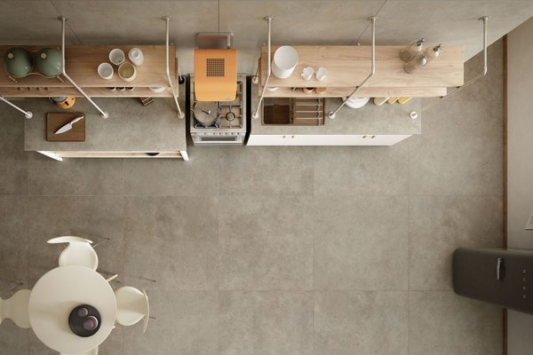 maximus behind Beige tiles Modern style Kitchen