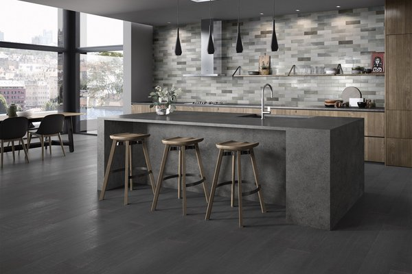 maximus behind Grey tiles Modern style Kitchen