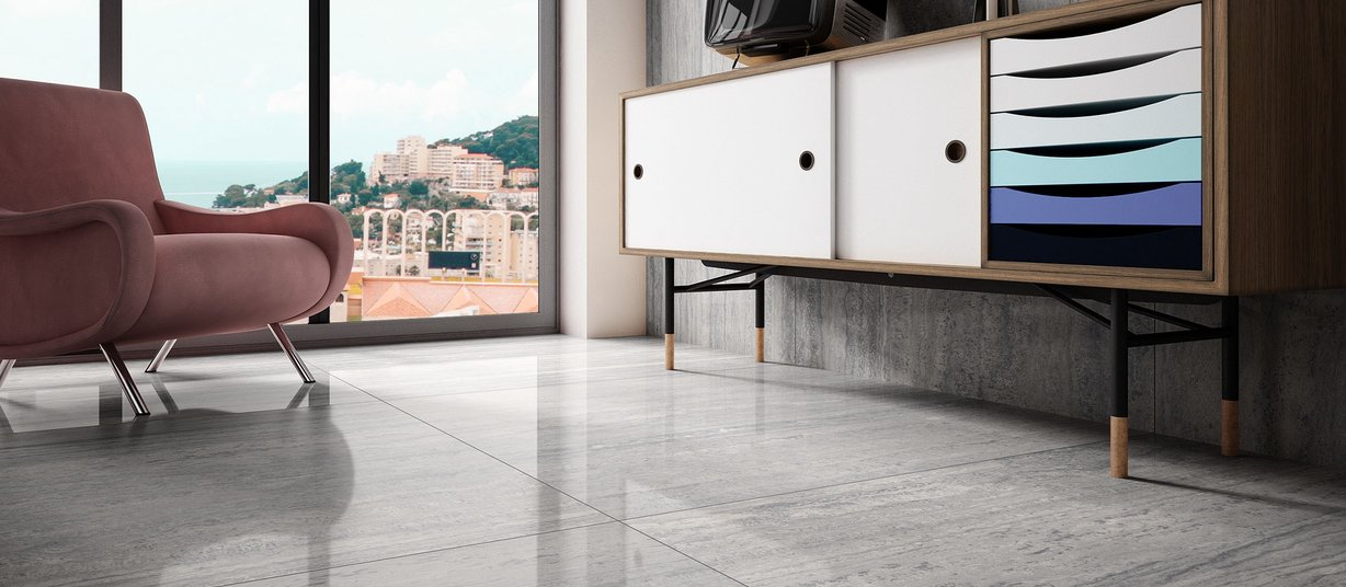 maximus new travertino Grey tiles Modern style Living