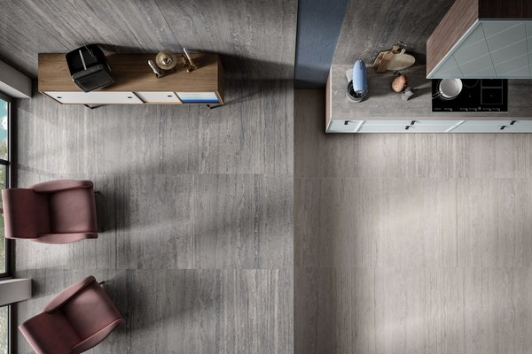 maximus new travertino Grey and Ivory tiles Modern style Living