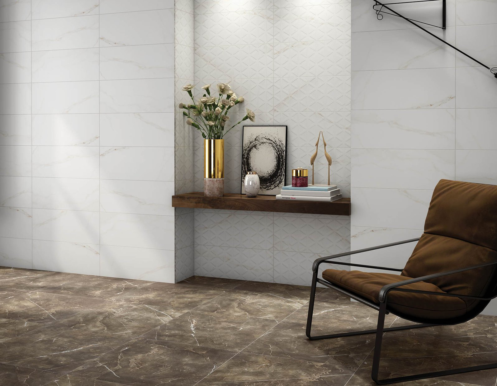 meltino Brown and White tiles Modern style Living
