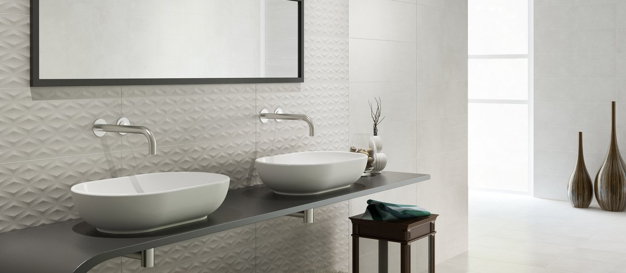 metropol White tiles Modern style Bathroom