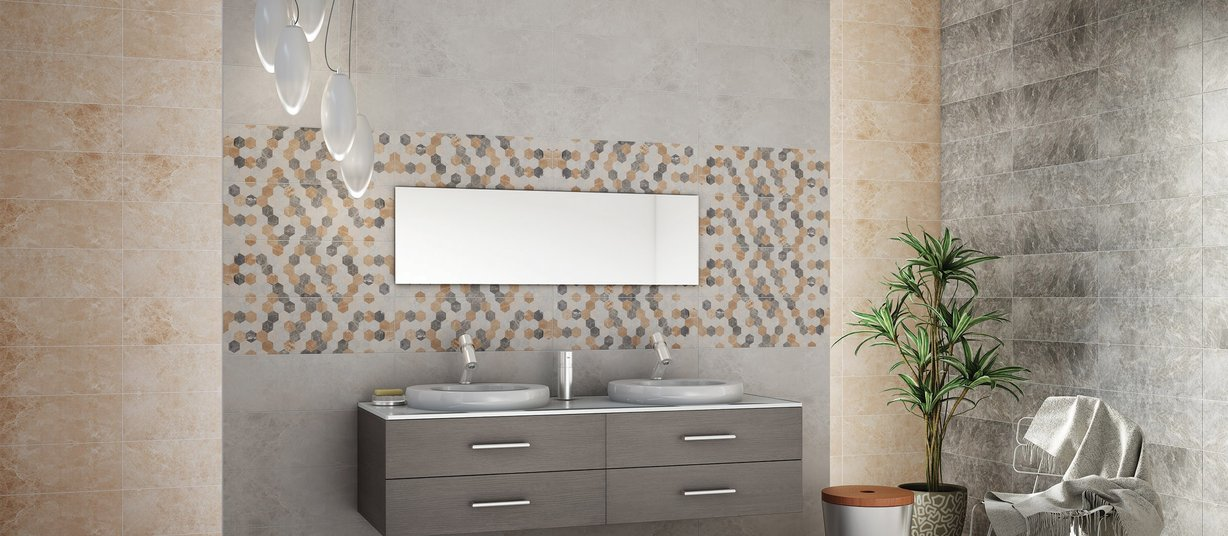 Mira Beige and Grey tiles Modern style Bathroom