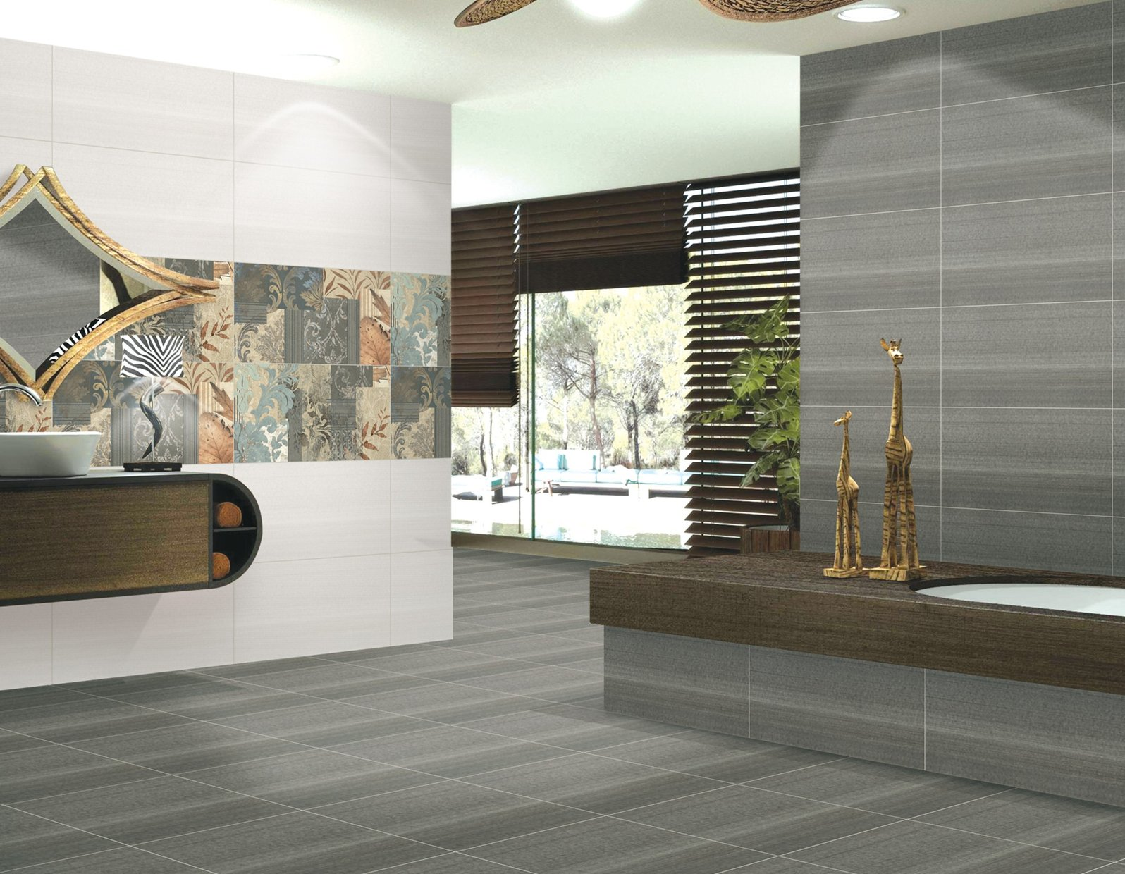 mississippi Grey and White tiles Modern style Living