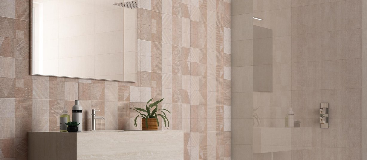 modena Beige, Brown and Mix tiles Modern style Bathroom