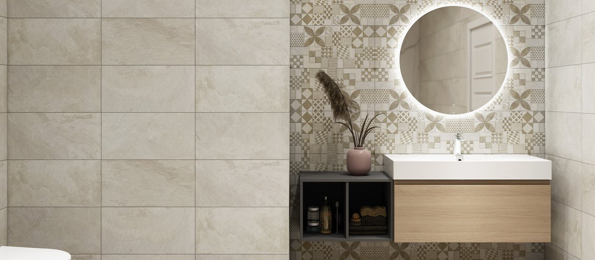 Mont real Beige tiles Modern style Bathroom