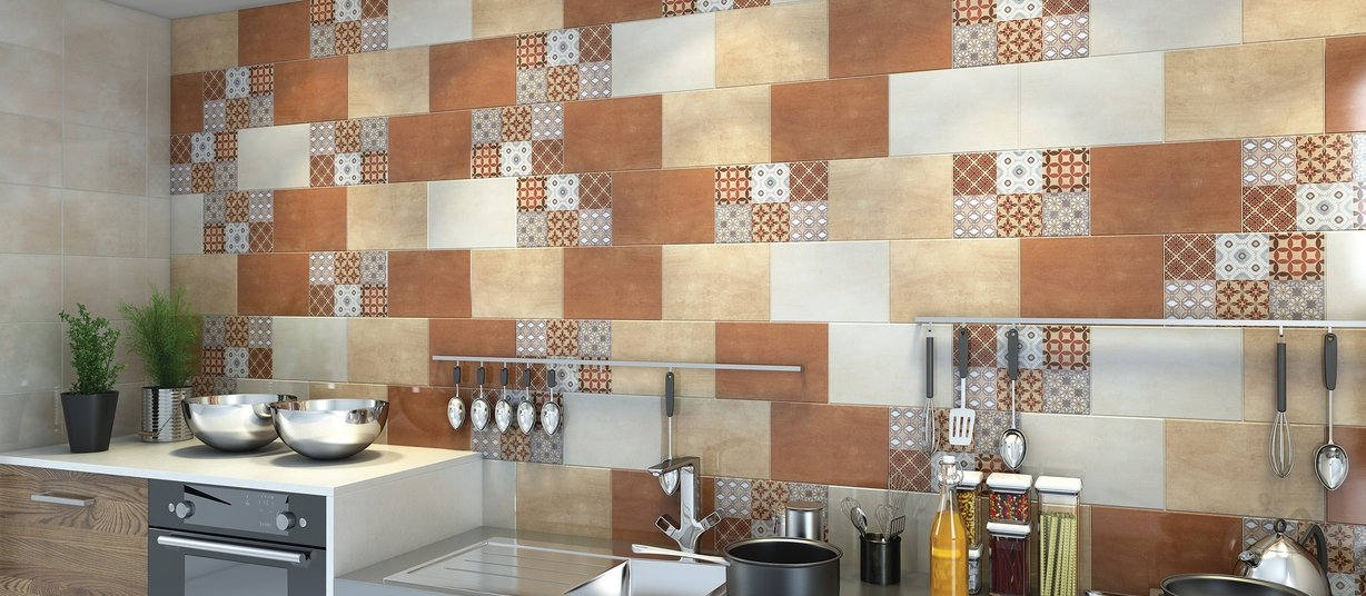 Motive Beige, Brown and White tiles Modern style Kitchen
