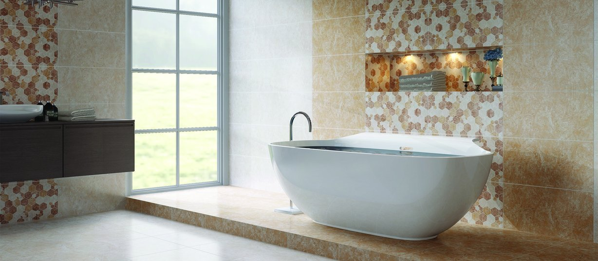 mozart Beige and Ivory tiles Modern style Bathroom