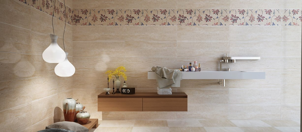 New diano Beige, Brown and White tiles Modern style Bathroom
