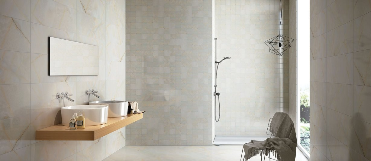 New onyx Ivory tiles Modern style Bathroom