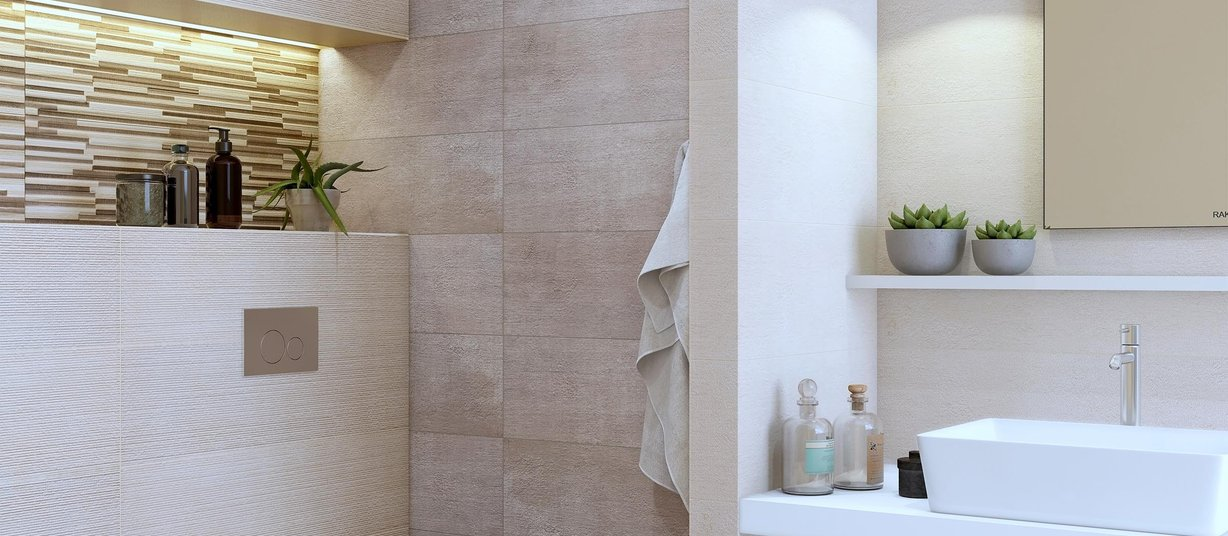 notrees Beige, Brown and Mix tiles Modern style Bathroom