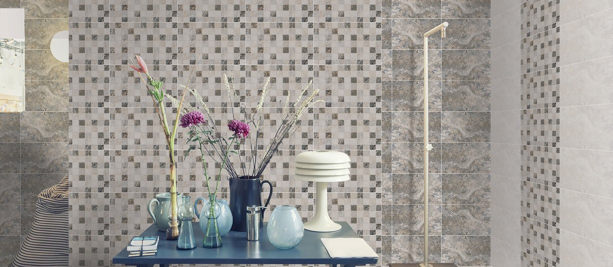 Novella Grey and White tiles Modern style Bathroom