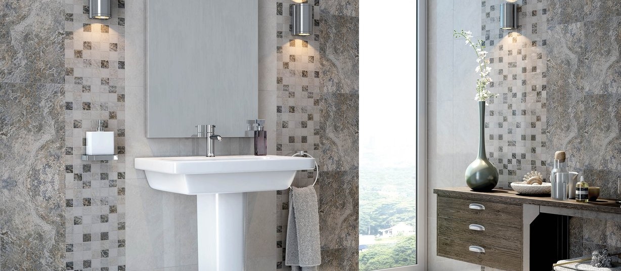 Novella Grey, Ivory, Mix and White tiles Modern style Bathroom