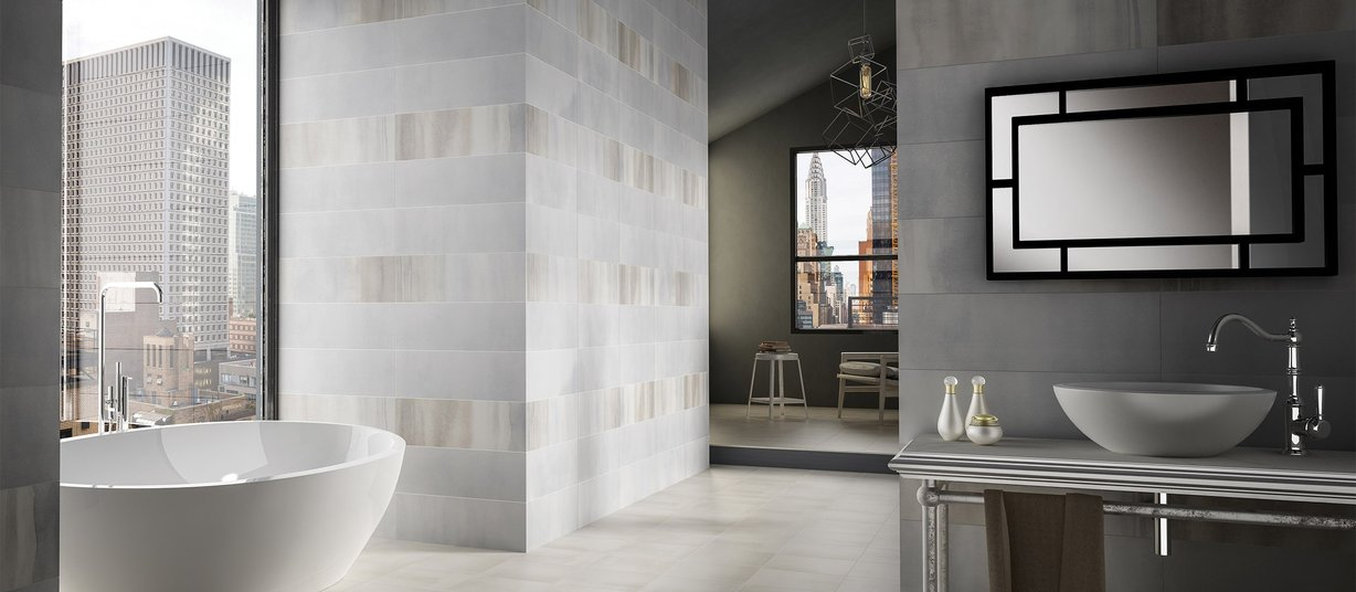 nuance Grey and White tiles Modern style Bathroom