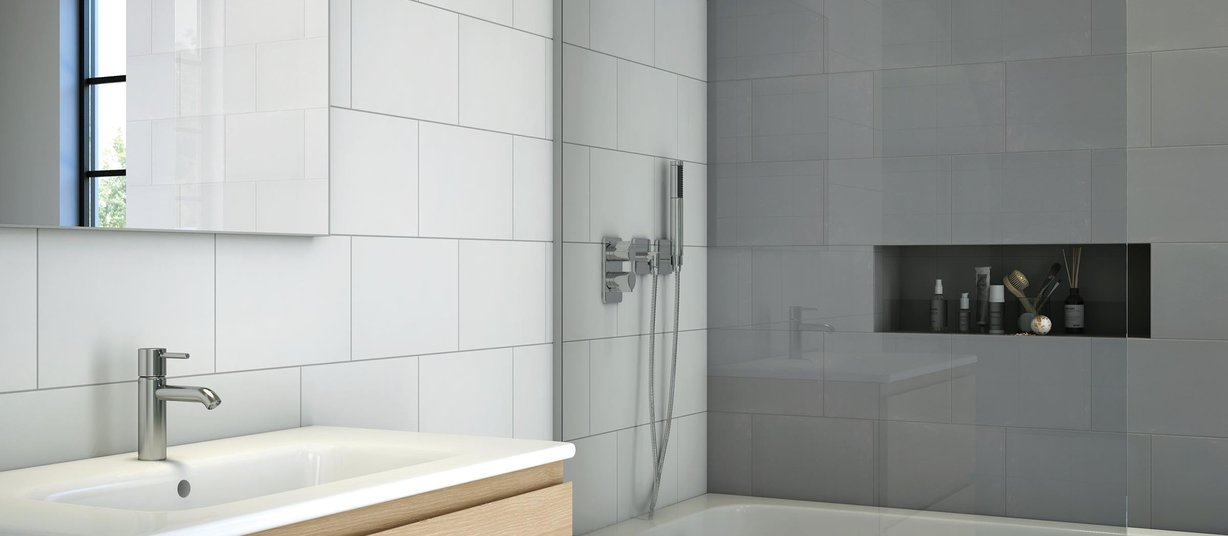 nuendo Grey and White tiles Modern style Bathroom