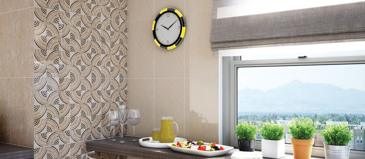 Nyra Beige, Mix and White tiles Modern style Kitchen