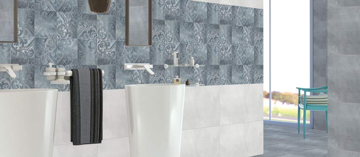 pacific Grey, Mix and White tiles Modern style Bathroom