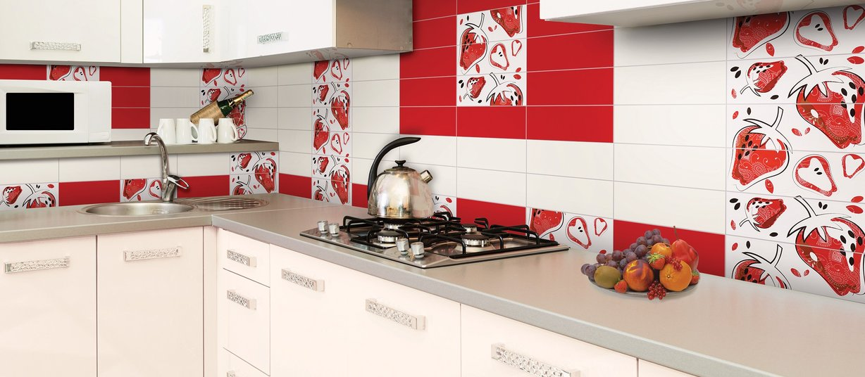Pantone Mix, Red and White tiles Modern style Kitchen