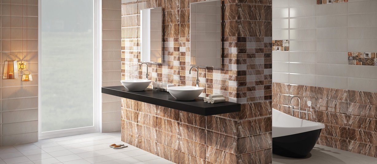 perlino Brown, Mix and White tiles Modern style Bathroom