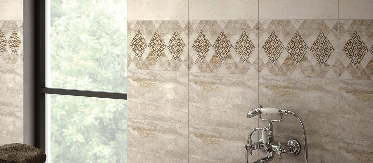 Pertes Brown, Ivory and Mix tiles Modern style Bathroom