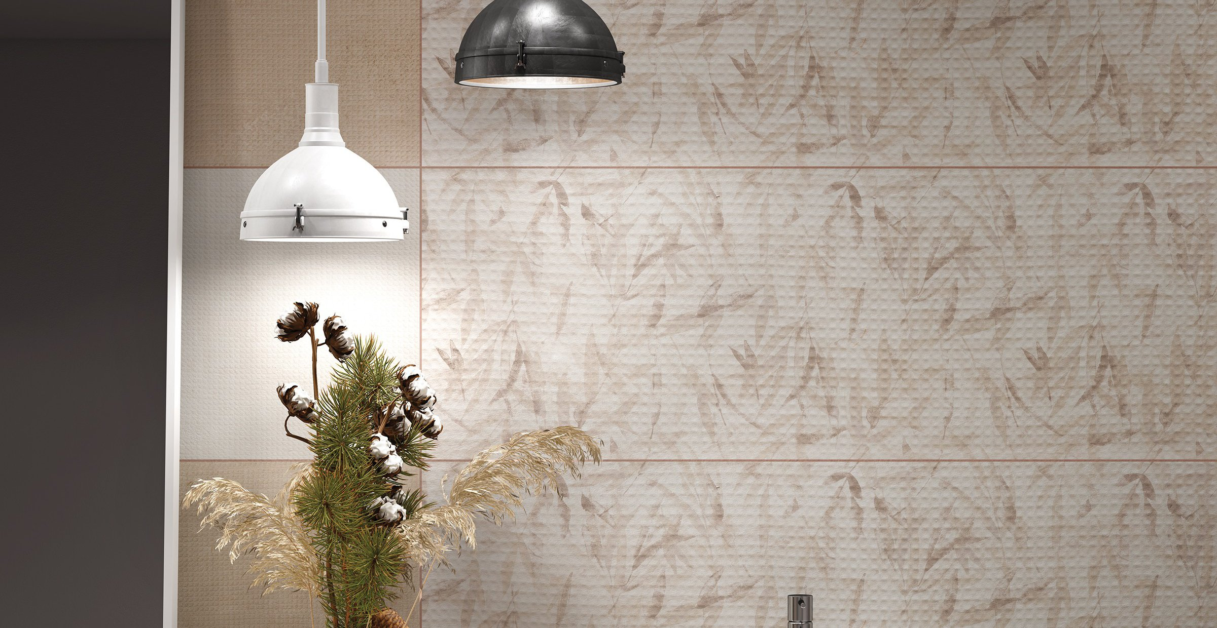 pique Brown, Grey and White tiles Modern style Bathroom