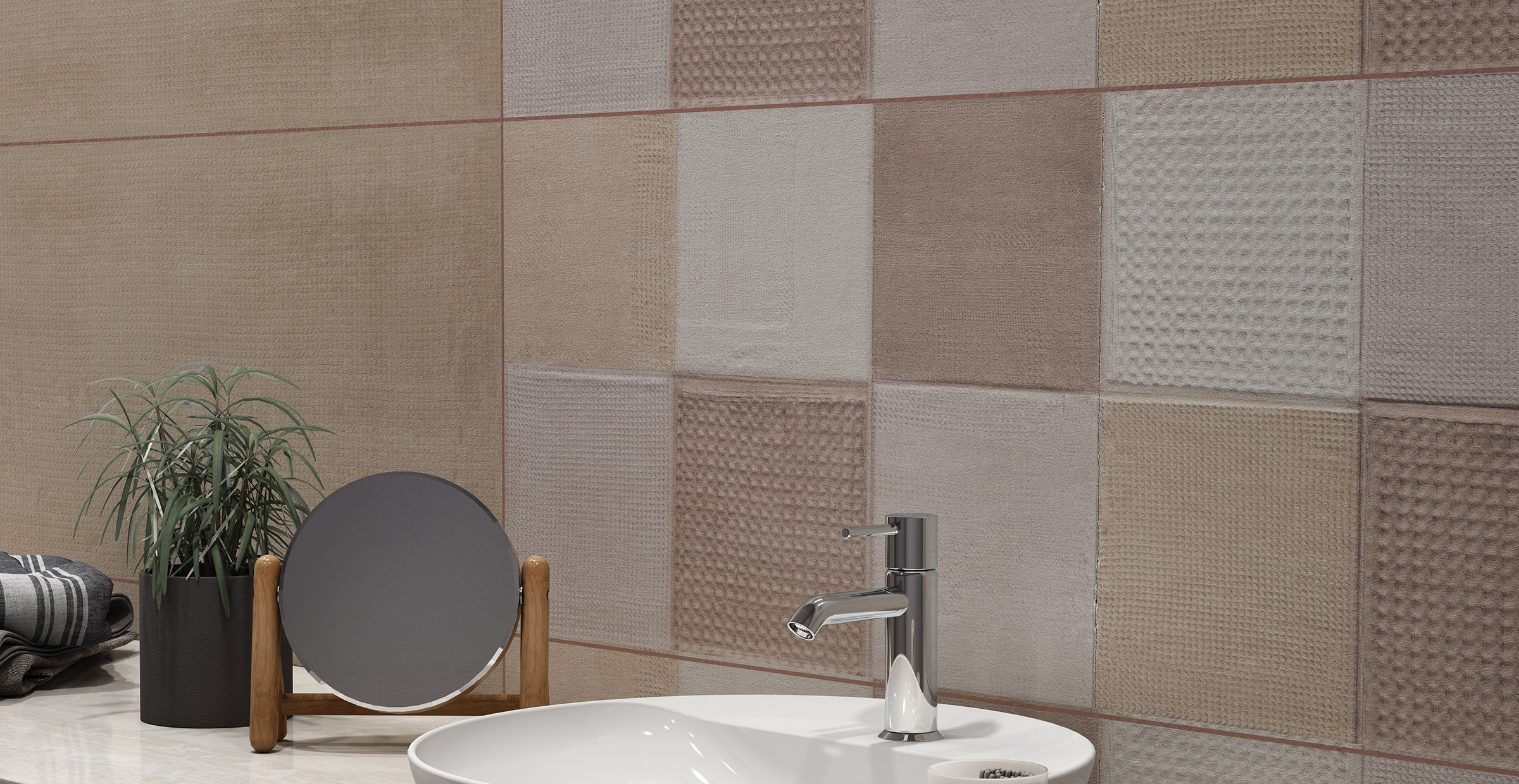 pique Brown, Grey, Mix and White tiles Modern style Bathroom