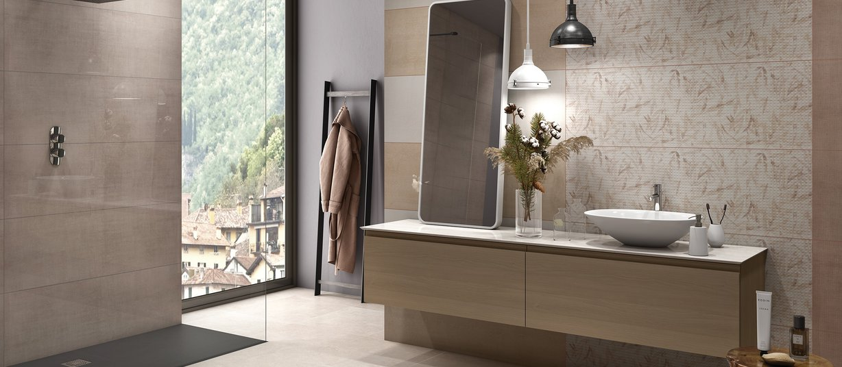 pique Brown and White tiles Modern style Bathroom