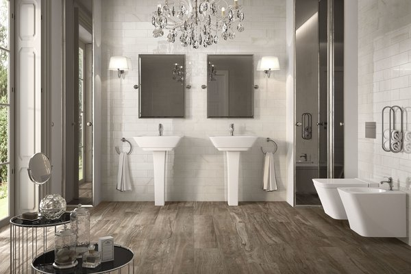 precious brick Brown and White tiles Classic style Bathroom