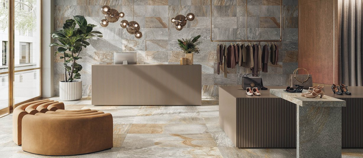 quarzite Grey tiles Modern style Light Commercial