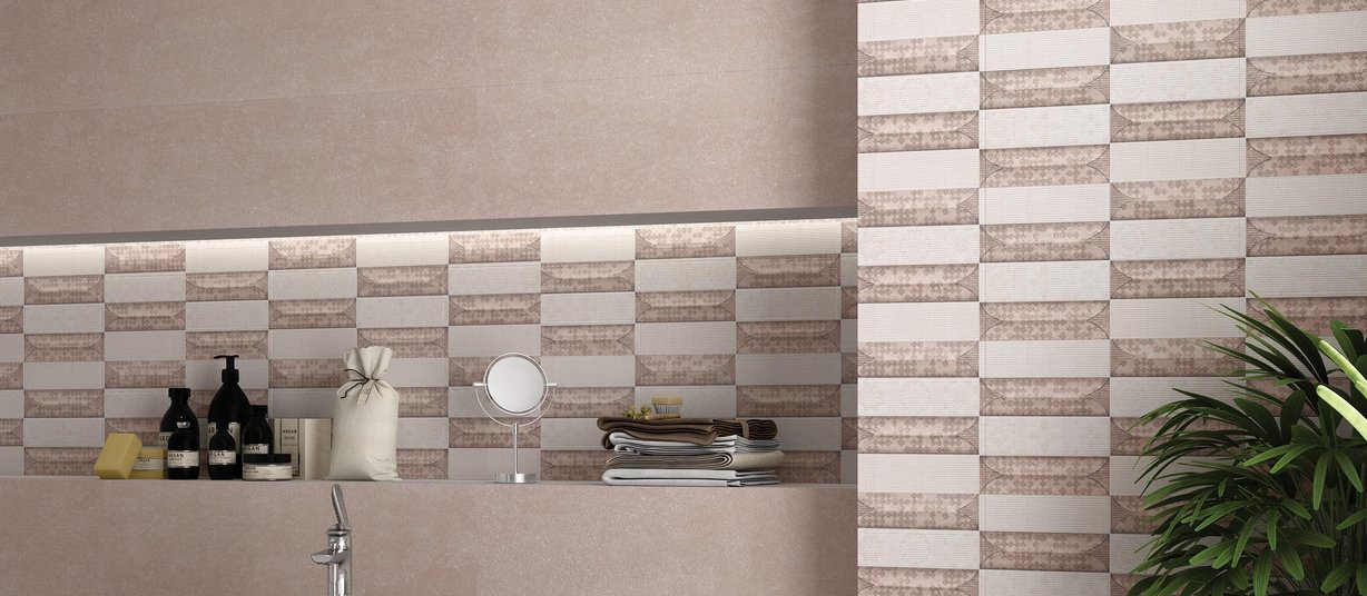 race Brown and Mix tiles Modern style Bathroom