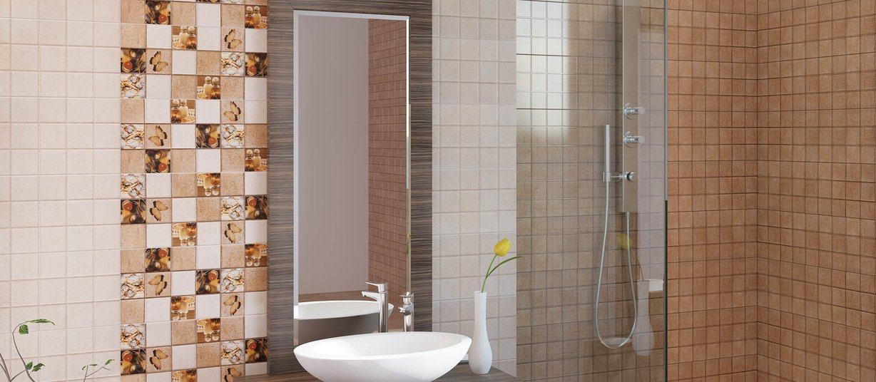 Radical Beige, Brown and Mix tiles Modern style Bathroom