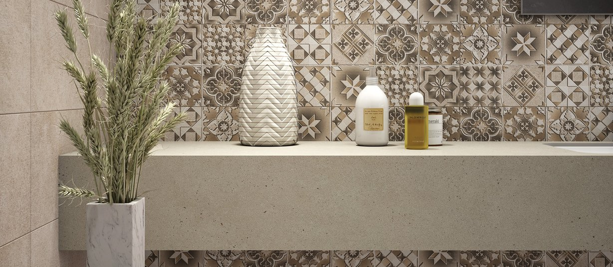 Raysun Beige tiles Modern style Bathroom