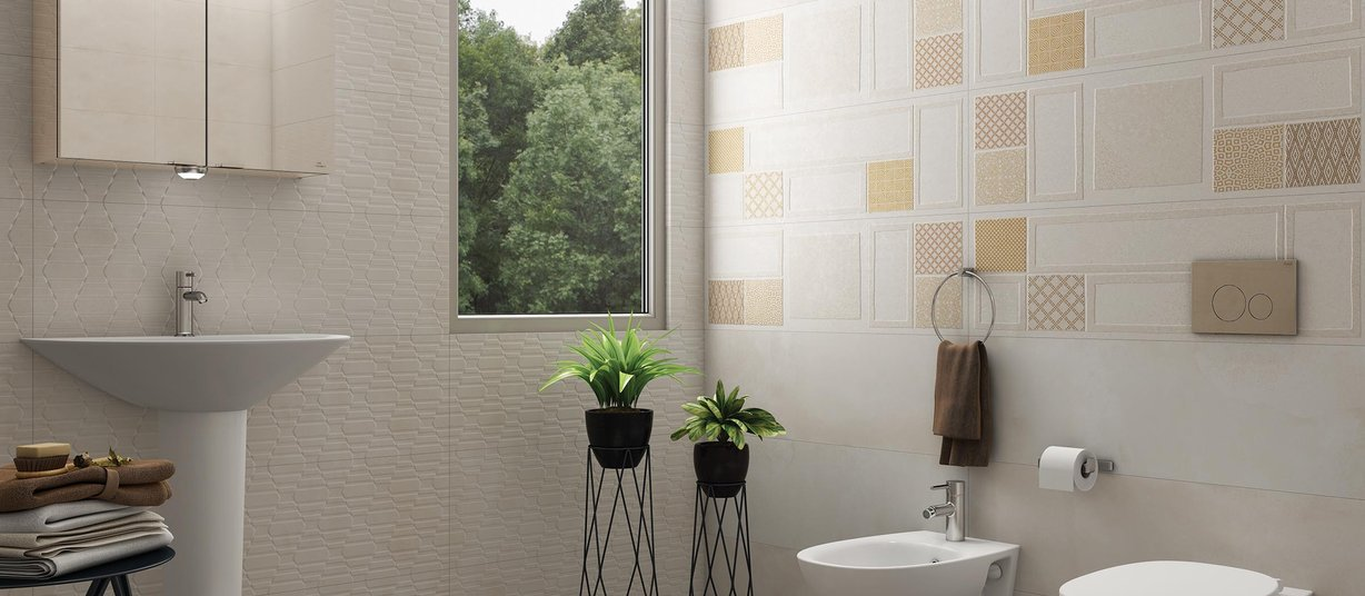 Rebus Beige, Brown and White tiles Modern style Bathroom