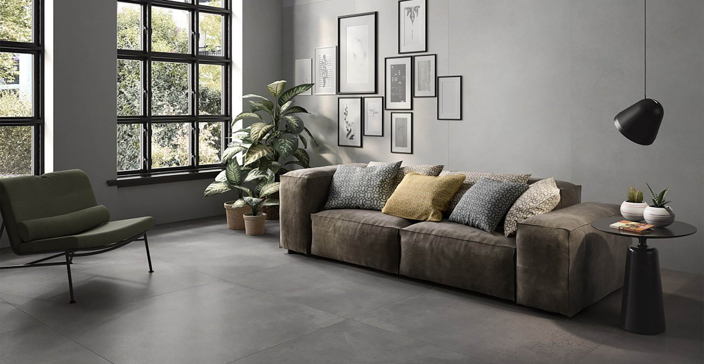 revive concrete xl Grey tiles Modern style Living