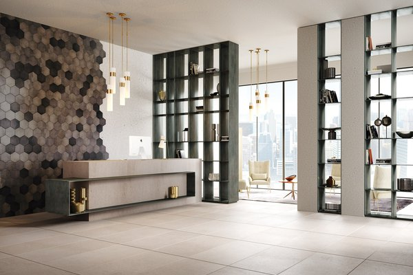 revive concrete Beige, Black and Mix tiles Classic style Living