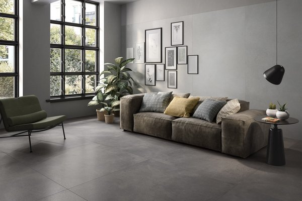 revive concrete Grey and White tiles Modern style Living