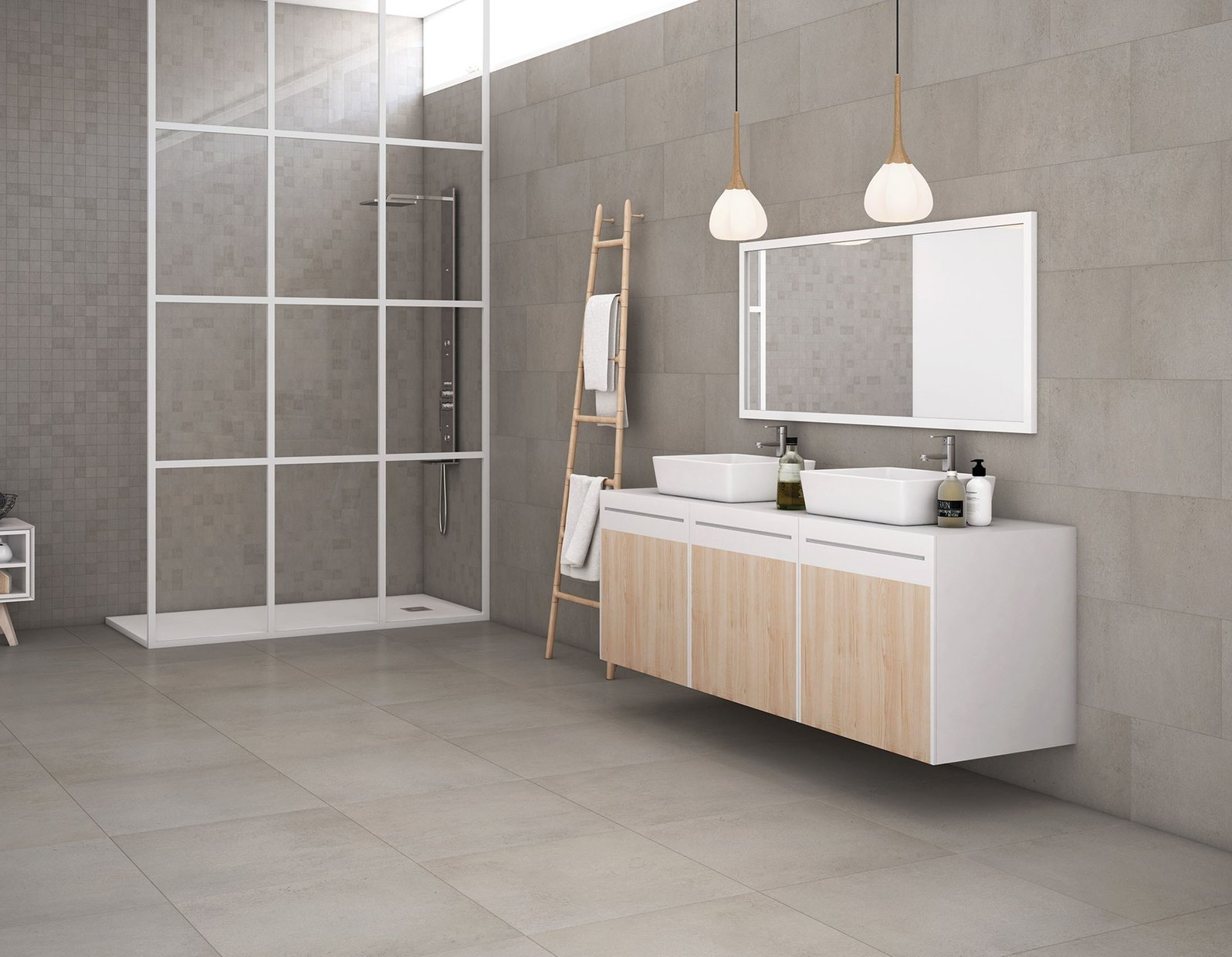 revive concrete Grey and White tiles Modern style Bathroom