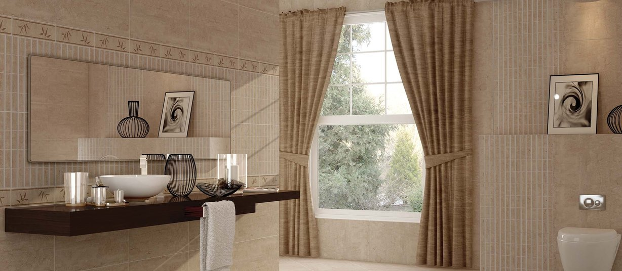 Roma Beige tiles Modern style Bathroom