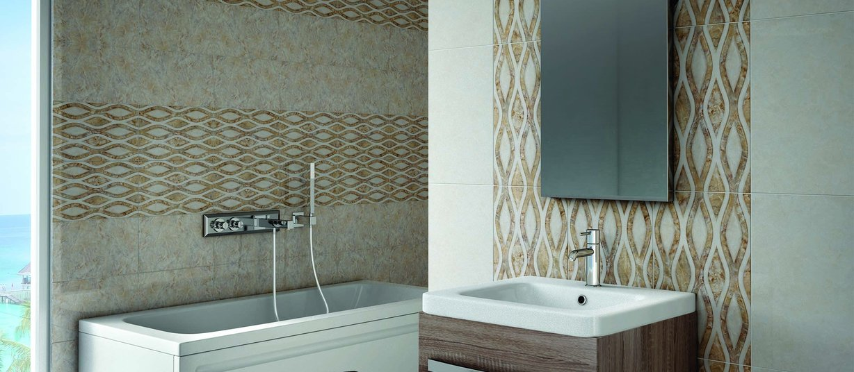 Saly Beige tiles Modern style Bathroom