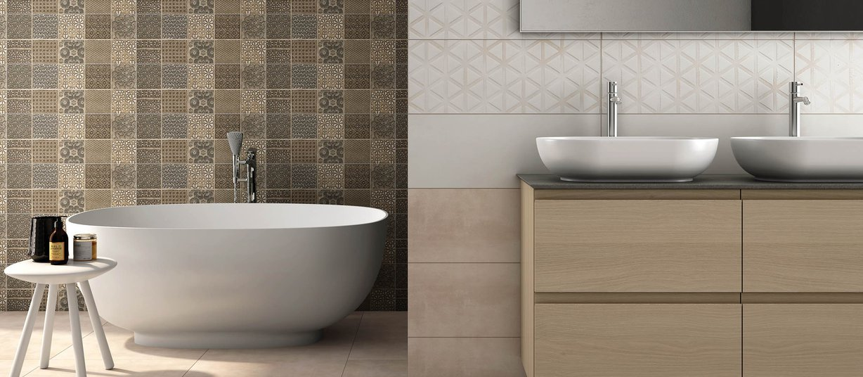 santford Beige, Brown and Ivory tiles Modern style Bathroom