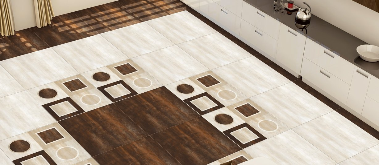 saturn Brown, Mix and White tiles Modern style Living